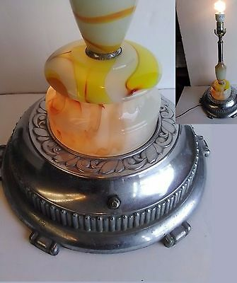 Houze Akro Agate Art Deco Chrome Orange Yellow Swirl Slag Glass Lamp 3-Way BIG