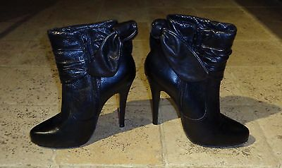 Ladies French Connection High Black Leather Ankle Boots Size UK5 38