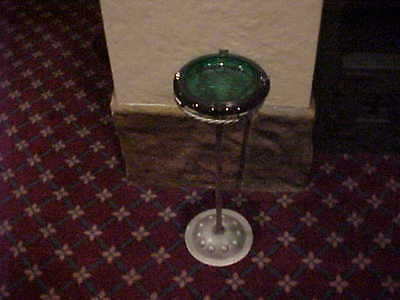 Vintage Gothic Pedestal Wrought Iron Ashtray With Thick Green Glass Tray