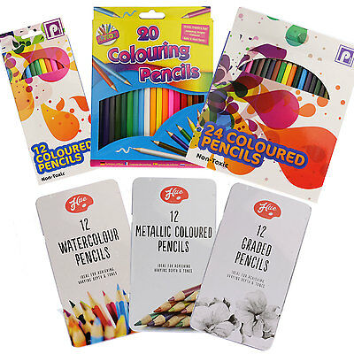 PENCILS - Colouring Watercolour Graded Metallic Set  Sketch Adult Colour Therapy