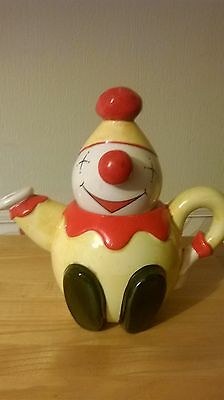 Price Kensington Potteries England Hand Painted Clown Teapot Yellow Red