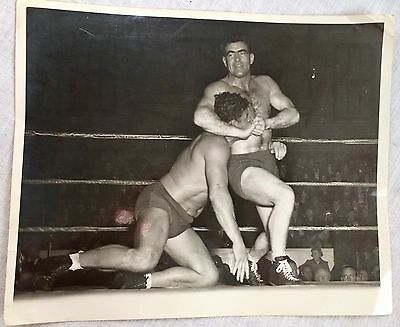 Yank Magazine WWII Military Photograph Two Wrestlers in the Ring Dick Hanley Pic