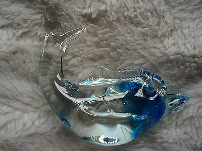 """Beautiful Blue Glass Dolphin / Fish, Approx 3 3/4"""" High"""
