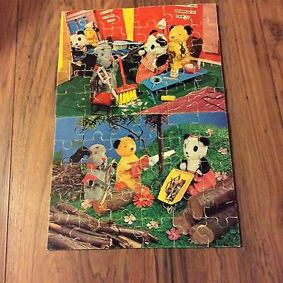 Set Of 2 Vintage Wooden Jigsaw Puzzles - Sooty And Sweep COMPLETE