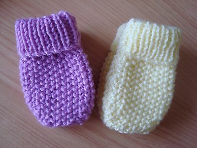"MITTENS 2 PAIRS BABY GIRL  3"" X 2"" AGE approx 12 MTHS 1 PAIR LEMON 1 PAIR PINK"