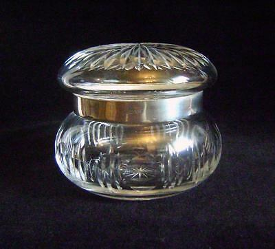 Victorian Cut Glass Jar / Pot with silver band Hallmarked Chester 1912 A/F