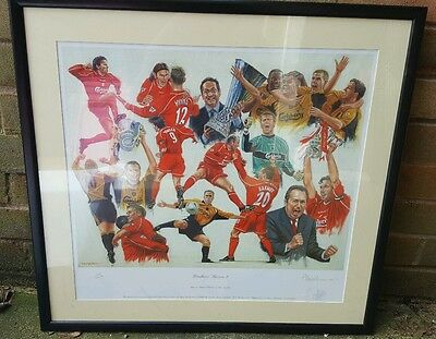 Houlliers Heroes Peter Deighan signed limited edition framed print Liverpool FC