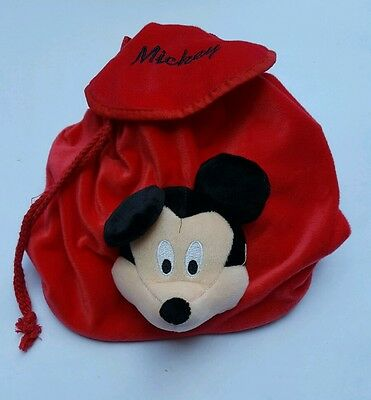 Official Disney Mickey Mouse drawstring backpack red. School nursery bag