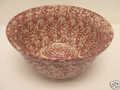 """Henn Pottery 10"""" Large Mixing Bowl Red/cranberry Spongeware New"""