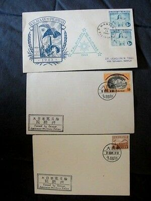 THREE WWII Japan & Occupied Philippines Postal FDC Cover/Envelopes Overprinted