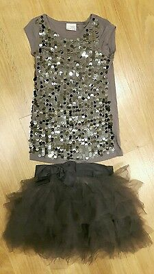 NEXT christmas sequins grey Tutu Skirt Top Set outfit AGE 2/3 3 YEARS