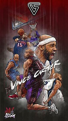 Vince Carter Art NBA Print Hologram & Certificate Basketball