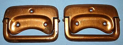2 Antique Metal Trunk Tool Chest Box Handles Copper Plated Vtg Hardware Pair Set