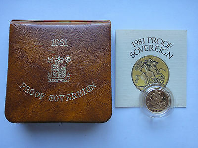 1981 UK Gold Proof Sovereign w/ Presentation case & COA