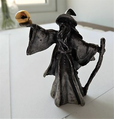 Pewter Metal Wizard Figurine Holding Gold Plated Orb / Sphere