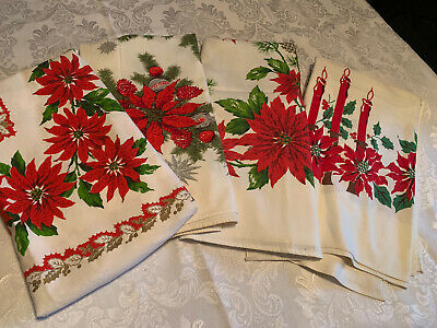 FESTIVE Vtg RED POINSETTIAS Christmas Tablelcoth Poinsettia Holly Red Candles