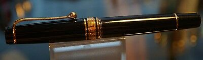 Aurora Optima Black And Gold Trim Fountain Pen 14K Solid Gold Nib- Butter Smooth