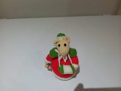Hand Knitted Christmas Mouse Ornament