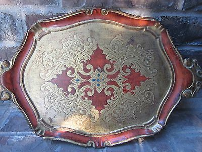 Vintage Florentine Florentia Decorative Craft Wood Serving Tray - Made in Italy