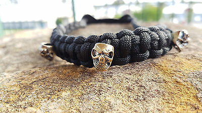 Archery Bow Sling 550 Paracord  Black with skull + 3 zipper pulls & leather yoke