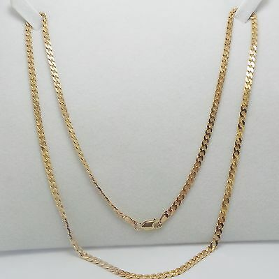 9Ct Yellow Gold Flat Curb Chain Necklace - 56 Cm -10.22 Grams