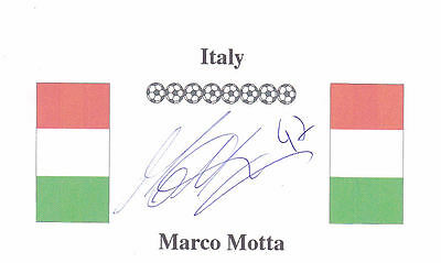 Marco Motta (Roma, Juventus, Watford and Italy) signed card