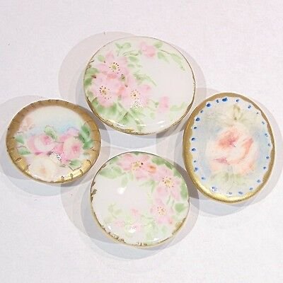 4 antique Victorian hand painted porcelain stud buttons assorted pink flowers
