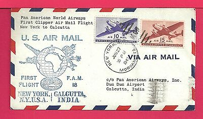 1947 First Flight Clipper Airmail Cover Ny To India Fam 18 Aamc F18-70