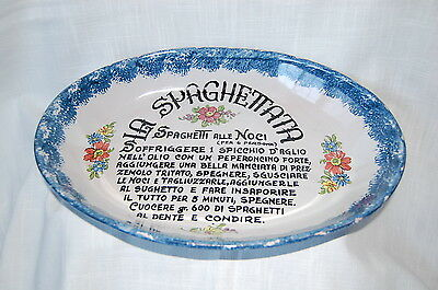 LA SPAGHETTATA Spaghetti PASTA BOWL Serving Dish Hand Painted Italy Large Oval