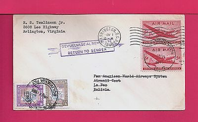 1946 First Flight Airmail Cover Panagra Clipper Test To Bolivia Rts
