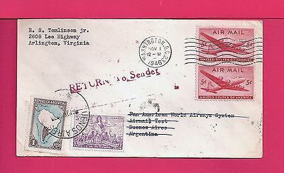 1946 First Flight Airmail Cover Clipper Test To Argentina Rts