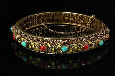 Antique Chinese Salmon Coral Turquoise Enamel Butterfly Gilt Silver Bracelet