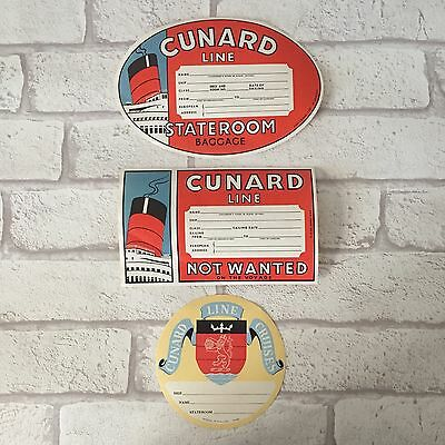 Set Of 3 Cunard White Star Cruise Line Luggage Label Tags