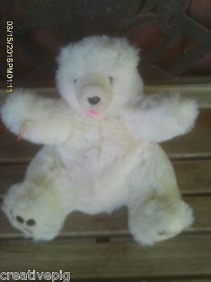 White Plush Polar Bear hand puppet for Imaginary Play Times