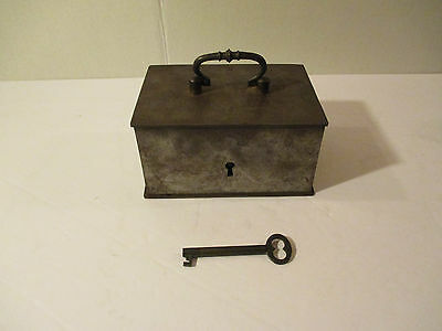 Antique Coffin Lock Box With Key