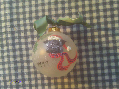 Hand Painted Hand Crafted Unique Potbellied Pig Christmas Ornament