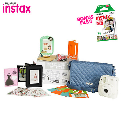 White Fuji Instax Mini 8 Fujifilm Instant Camera My Style Bundle