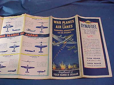 1940s SUNOCO Gas Station WWII WAR PLANES + AIRLANES War Map PLANE SPOTTERS