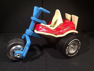 Vintage TONKA 3-Wheel Motorcycle/Trike Red, White & Blue Made In The USA