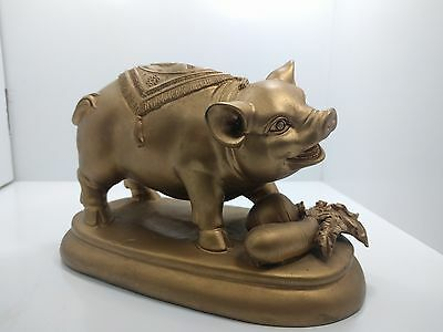 Gold Pig Chinese Antique | Gold Painted Chinese Pig Antique| Fast Safe Shipping