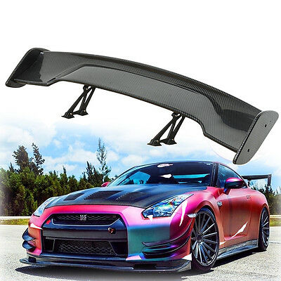 "Universal 57.5"" Adjustable  Carbon Fiber color Rear Trunk 3D Racing Spoiler Wing"