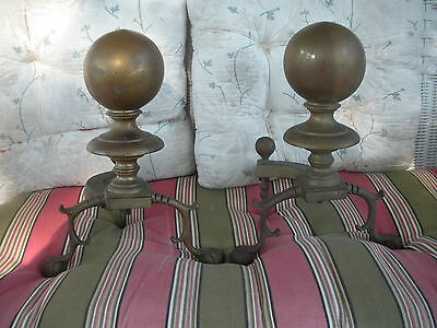Vintage 1950S Heavy Brass Fireplace Ball Finial Andirons