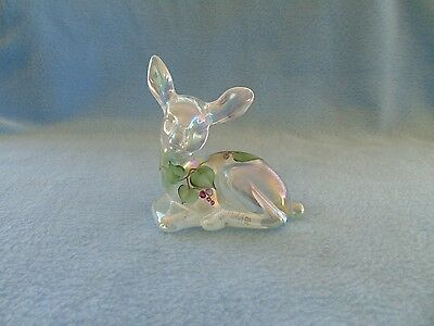 Fenton Iridized Hand Painted Deer With Berries And Leaves