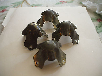 Set of Four Antique Corner Brass Fittings