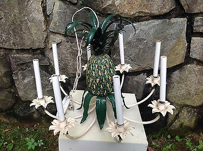 #2 of 2 Vintage HOLLYWOOD REGENCY Decorator FAUX PINEAPPLE Tole CHANDELIER 1960s