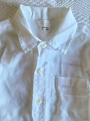 Baby 18-24months White Cotton Shirt. French Linen. Wedding Christening Top.