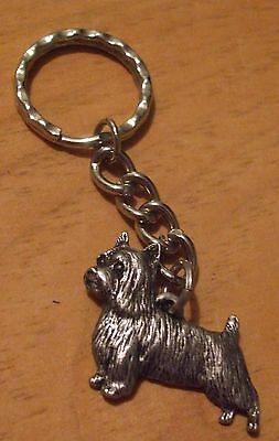 SILKY TERRIER DOG PEWTER  KEYCHAINs  .  FREE SHIPPING  in  USA