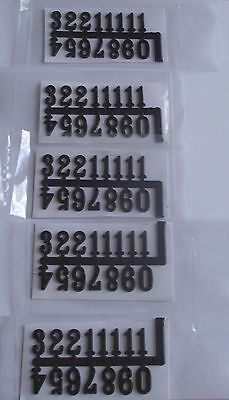5 x Arabic Clock Face Numbers Numerals Black 1 - 12 Stick On Set New 16mm high