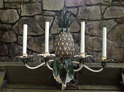 Vintage HOLLYWOOD REGENCY Decorator FAUX PINEAPPLE Tole SCONCE High Style 1960s