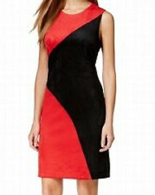 Calvin Klein Color blocked Suede Sheath Contemporary Dress BLACK RED 6